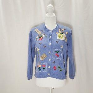 Talbots Petites Blue  Cardigan Sweater Size S